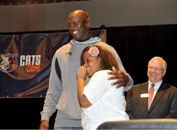 West Charlotte student Jewel Jefferies with Michael Jordan