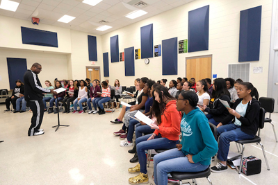 McClintock Middle School Advanced Chorus rehearsing. Teacher/conductor Willie Pinson.