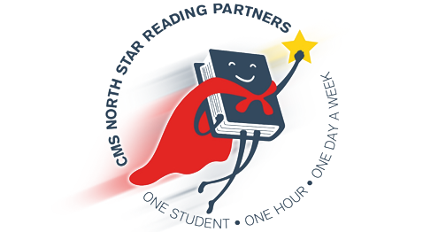 The North Star Reading Partners Logo with a Superhero Bookman holding a star.